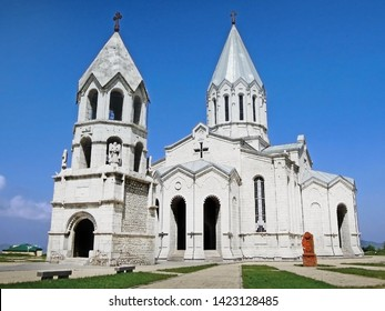 Holy Savior Cathedral or Ghazanchetsots Cathedral in Shusha (Shushi), Nagorno-Karabakh Rebublic. Design of church reminds of Etchmiadzin Cathedral in Armenia, most sacred place of Apostolic Church