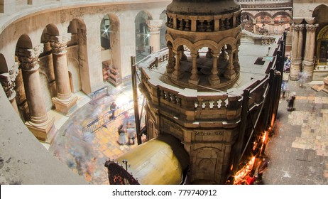 The Holy Sepulchre Church inside from top in Jerusalem timelapse. This is the most sacred place for all Christians in the world. Golgotha, Stone of Anointing, Jesus Grave. Jerusalem, Israel