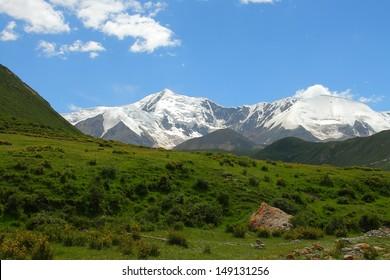 Holy snow mountain Anymachen on Tibetan Plateau, Qinghai, China