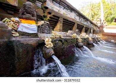 Holy Spring Water Tirta Empul Hindu Temple , Pura Tirta Umple in Bali Indonesia.