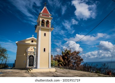Holy temple of Zoodochos Pigi in Mpochali , in Ionian island of Zakynthos (Zante), Greece on a beautiful colorful day