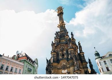 Holy Trinity Column and Horni Namesti old town square in Olomouc, Czech Republic