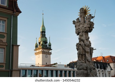 Holy Trinity Column and the tower of the Old Town Hall in Brno, Czech Republic