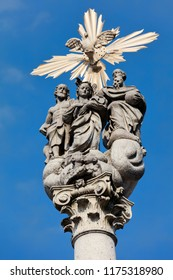 Holy Trinity statues in front of the Ursuline Church of the Holy Trinity in Ljubljana, Slovenia, created by Francesco Robba in 1722.