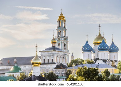 The Holy Trinity-St. Sergius Lavra. View of The Bell Tower, the Assumption Cathedral and the Refectory Church