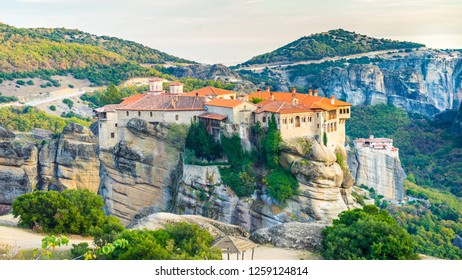 Holy Varlaam and Rousanou monastery on cliff in Meteora, Thessaly Greece. Greek destinations