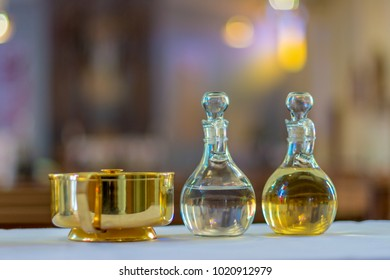 Holy water and oil for unction in a Catholic Church