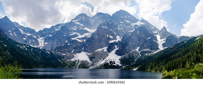 Holyday in Spectacular mountain rage near lake - Morskie Oko in Vysoke Tatry. Poland Panorama
