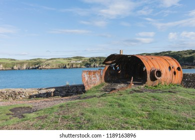 Holyhead, Angelsey / Wales - 09 15 2018: Description Porth Wen Brickworks is a disused Victorian brickworks which produced fire bricks, made from quartzite (silica) used to line steel-making furna