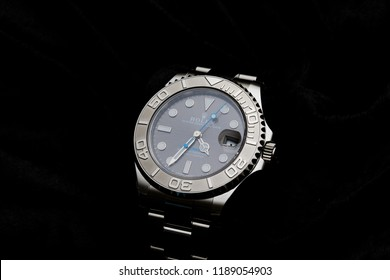 Holywood, Co Down, Northern Ireland. 25.09.2018:  Rolex Ladies Yacht Master 40mm in Platinum.  This watch is one of the very few Yacht Master Series watches for ladies which, includes a blue hand.