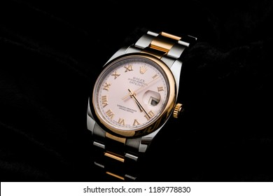Holywood, Co Down, Northern Ireland. 24.09.2018:  Rolex Oyster Perpetual Date Adjust.  This swiss watch is a custom Oyster With Rose Gold Bezel, Face and Roman Numerals.