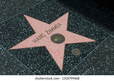 Holywood, Los Angeles, California, USA - June 14, 2014: Star of Hans Zimmer on the Walk of Fame
