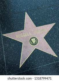 Holywood, Los Angeles, California, USA - June 14, 2014: Star of Russell Crowe on the Walk of Fame