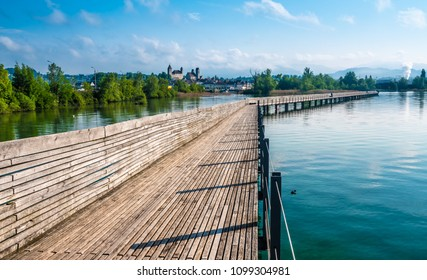 The Holzsteg, a wooden pedestrian bridge crossing the Zurich Lake (Obersee) at its narrowest point  Part of the eastern branch of the Way of Saint James
