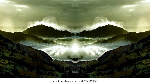 homage to Dalí,surrealistic photography, of   Fantastic sea foam animals,geometric composition of Wave crashing,artistic  composition,abstract photography, abstract surrealism,  Sea monsters, Ghosts,