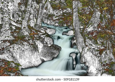 homage to Dalí,surrealistic photography,of    waterfall in the forest in Autumn,The Fragas of the River Eume, Galicia, Spain, Natural Park,dreams, landscape of dreams, photography of the subconscious,