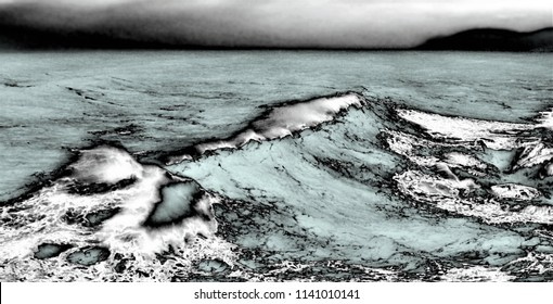 homage to Dalí, surrealistic photography of waves at low shutter speed to give a feeling of movement with flou effect,feeling of movement, dreams, landscape of dreams, photography of the subconscious