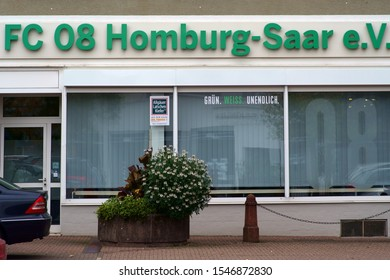 HOMBURG, GERMANY - OCTOBER 19: The exterior facade of the office of the football club FC 08 Homburg-Saar e.V. with logo on October 19, 2019 in Homburg.