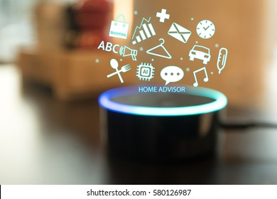 Home advisor , voice recognition , artificial intelligence device and internet of things concept. Technology icons and blur kitchen background.