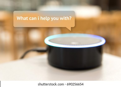 Home advisor , voice recognition , artificial intelligence device and internet of things concept.