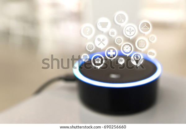 Home advisor , voice recognition , artificial intelligence device and internet of things concept. Technology icons and blur room background.