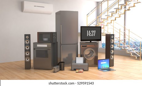 Home appliances. Gas cooker, tv cinema, refrigerator, microwave, laptop and washing machine. 3d illustration.