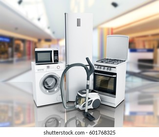 Home appliances Group of white refrigerator washing machine stove microwave oven vacuum cleaner 3d render on glass flor
