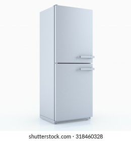 Home appliances. Refrigerator isolated on white. 3D render