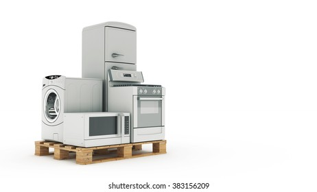 Home appliances. Set of household kitchen technics isolated on white. Fridge, gas cooker, microwave oven and washing machine. 3d