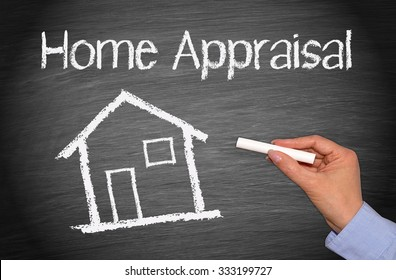 Home Appraisal - House with text and female hand with chalk - Real Estate Concept