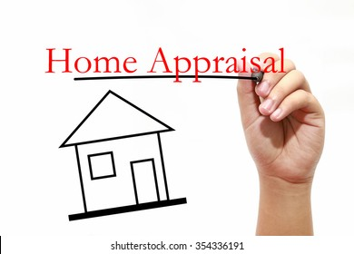 Home Appraisal - House with text and male hand with pen - Real E