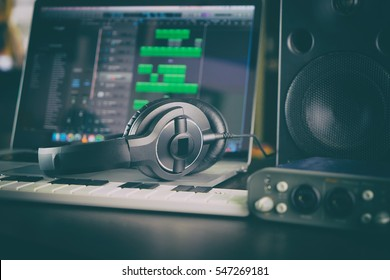 Home Audio Studio Computer Music Sound Station portable set up with laptop Speaker and Audio interface Headphone an DAW application