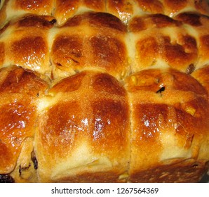 Home baked hot cross buns just out of the oven