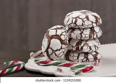 Home Baked Peppermint And Chocolate Crinkle Cookies