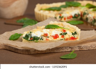 Home Baked Quiche With Spinach, Bell Pepper, Feta Cheese