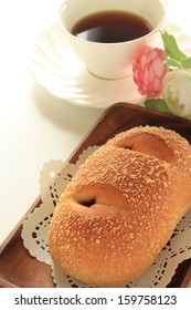 home bakery, deep fried curry in bread and black coffee for Japanese food image
