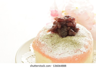 home bakery, red bean paste bun on white background with copy space
