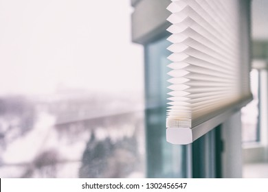 Home blinds - cordless cellular honeycomb pleated shade modern shades on apartment windows. Automated curtains blind.
