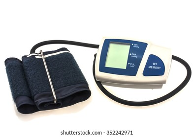 Home blood pressure monitor isolated over white