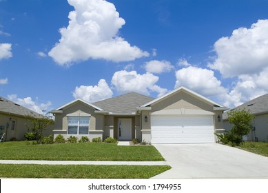 Home with blue sky and clouds background 03