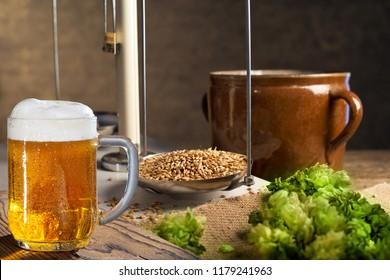 Home Brewing of Beer. Hops, barley and beer.