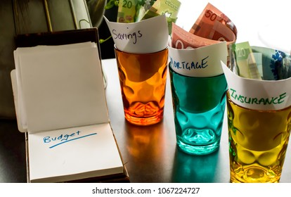Home budget conceptual photography background notepad on table with glass jars and cash money and words Insurance, mortgage and savings written on paper