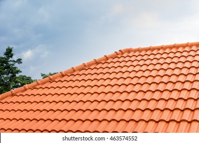 home building construction roof tiles  concrete. orange color