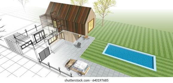 home building, scheme, sketch, 3d illustration