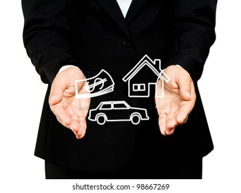 home, car and money in business hands