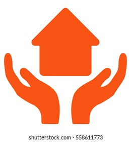 Home Care Hands glyph icon. Flat orange symbol. Pictogram is isolated on a white background. Designed for web and software interfaces.