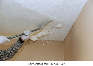 Home ceiling drywall demolition popcorn ceiling texture