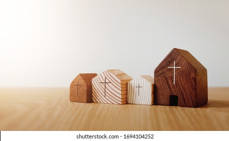 Home church online, wooden home church, community of Christ, Mission of gospel, with blank copy space