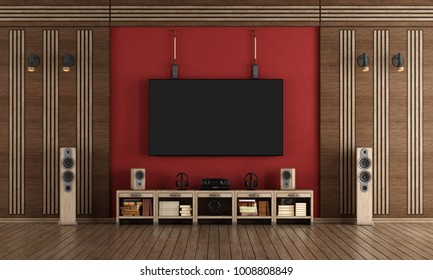 home cinema room with TV hanging on the wall and wooden decorations - 3d rendering