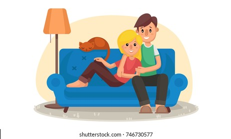 Home Cinema. Home Room With TV Screen. Using Television Together. Online Home Movie. Cartoon Character